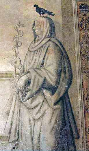 бог Асклепий-Эскулап с вороной и змеей
