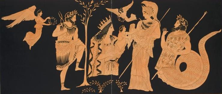 Гея передает Эрихтония Афине Палладе