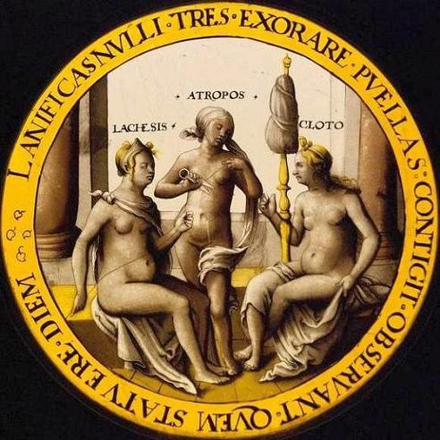 латинская надпись, Лахесис, Атропос, Клото