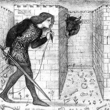 Тесей с нитью Ариадны в лабиринте