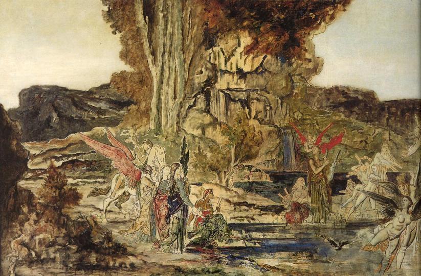 миф о Пиэридах, картина Гюстава Моро