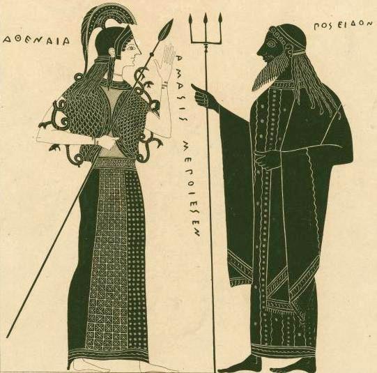 спор бога Посейдона и богини Афины