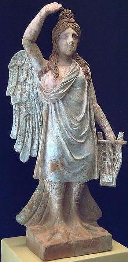 Сирена с кифарой из мифов древней Греции