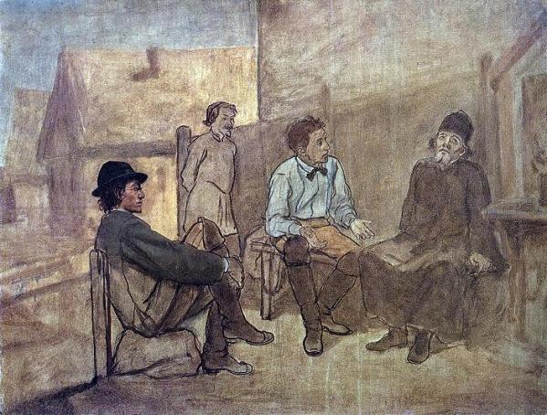 василий перов, беседа двух студентов с монахом